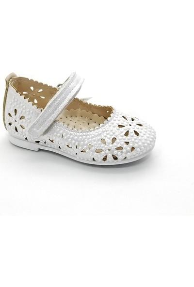 Sema Kız Çocuk Lazer Işlemli Çiçekli Babet Ayakkabı (31-36) 36 - Gümüş