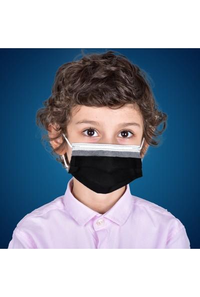 Hcare - Type Iır - 3 Katlı 350'LI Siyah Renkli Cerrahi Çocuk Maskesi