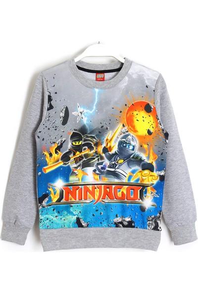 LEGO Ninjago Baskılı 3D Çocuk Mevsimlik Sweatshirt 5 - 13 Yaş Gri Melanj