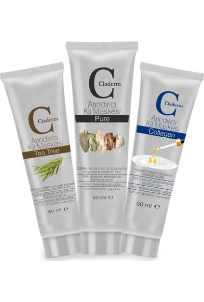Claderm 50ML 3'lü (Tea Tree-Pure-Collagen) Avantaj Paketi