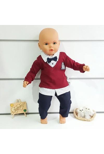 Bebekodam Armalı Papyonlu Yazlık Erkek Bebek Takım - Bordo