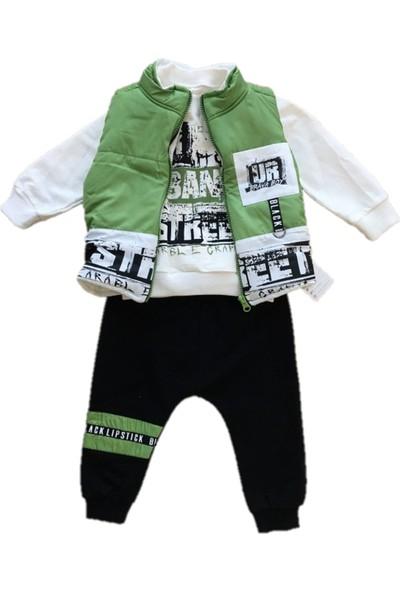 Brava Unisex 3' Lü Bebek Takımı Yelekli/ Alt Üst Eşofman Yeşil-Siyah 6-9-12-18-24 Ay