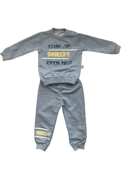 Brava 3' Lü Bebek Takımı Kapüşonlu Mont/ Alt Üst Eşofman Sarı-Lacivert-Gri Renk 6-9-12-18-24 Ay