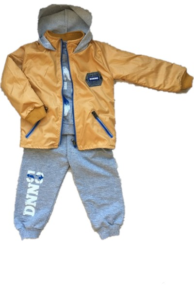 Donino Baby Unisex 3' Lü Bebek Takımı Yağmurluk Mont/ Alt Üst Eşofman Hardal Sarı-Gri 6-9-12-18-24 Ay