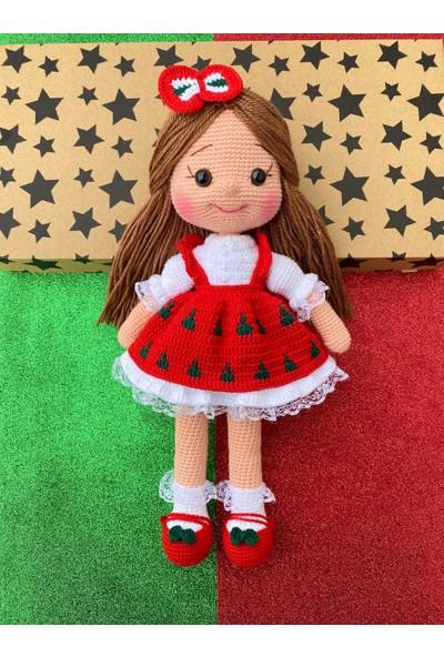 Simay Store Amigurumi Örgü Oyuncak Kırmızı Alice Örgü Bebek 35CM