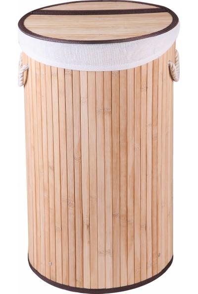 Çamaşır Sepeti Bambu Yuvarlak Naturel Katlanır Kirli Çamaşır Sepeti Home Naturel