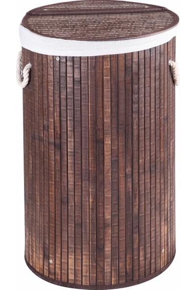 Çamaşır Sepeti Bambu Yuvarlak Kahverengi Katlanır Kirli Çamaşır Sepeti Home Naturel