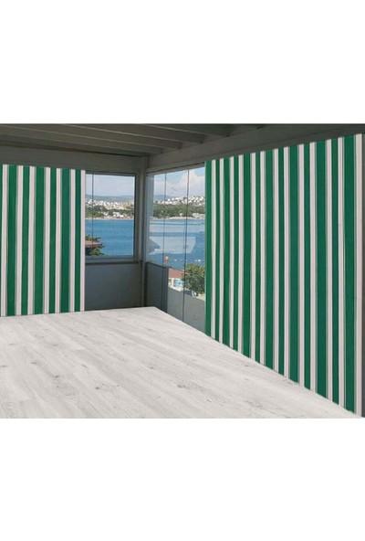 Ceylan Home Balkon Perdesi Brandası Yeşil Çizgili 650X250 1 kg