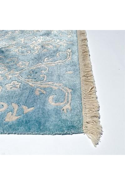 Mavi Krem Damask Tasarım Bambu ve Pamuk El Dokuma 0018