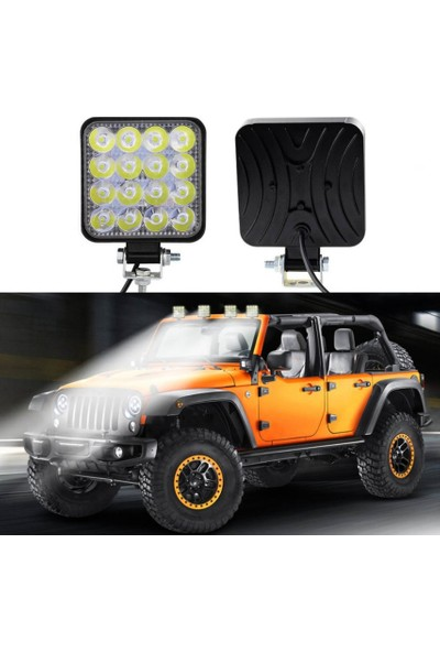 Joytech 16 LED Kare Off Road Iş Makinası Çalışma Lambası Sis Farı