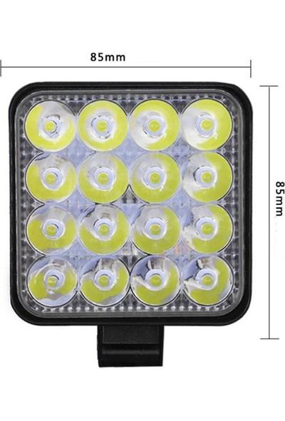Joytech 8 Adet 16 LED Kare Off Road Iş Makinası Çalışma Lambası Sis Farı