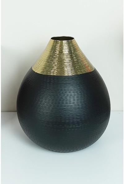Glazze Dekoratif Tombik Vazo Metal Mat Siyah