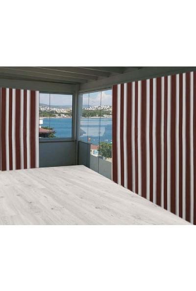 Ceylan Home Balkon Perdesi Brandası Kahverengi Kalın Çizgili 300X250 1 kg
