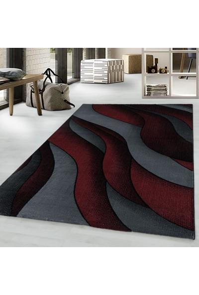 Ayyıldız Modern Bulanık Dalga Desenli Dekoratif Halı Kırmızı Siyah Gri Tonlarda