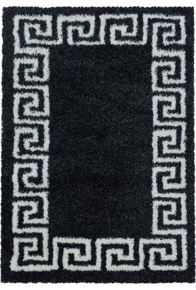 Ayyıldız Desenli Shaggy Halı Yumuşak Ornament Bordür Desen Siyah Beyaz