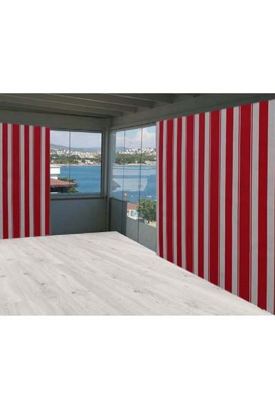 Ceylan Home Balkon Perdesi Brandası Kırmızı Çizgili 225X250 1 kg
