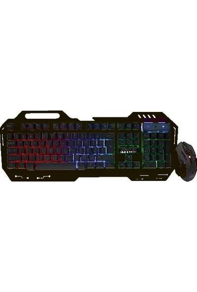 Carboon Carbon CK-9000 LED Aydınlatmalı Oyuncu Klavye + Maus Set Siyah