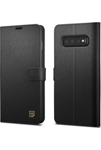 Spigen Samsung Galaxy S10 Kılıf La Manon Wallet Saffiano Black - 605CS25819