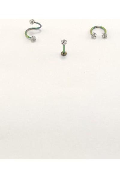 Takıparkxs 316L Cerrahi Çelik 8 mm Gümüş Gri Bar Shambala Üçlü Piercing Set (Labret,septum,helix)