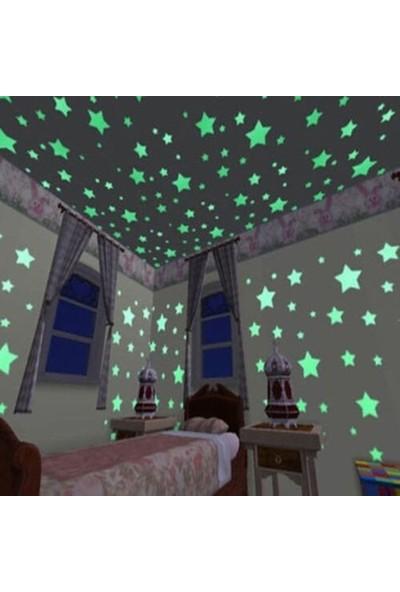 İstoc Trend Fosforlu Yıldız Ay Gece Parlayan Oda Duvar Tavan Süsü 24 Parça