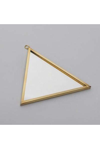 El Crea Designs Mini Ayna Pirinç Duvar Askılı Dekoratif Aksesuar 10X9CM