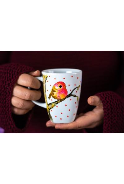 1SE2GE Handmade Daldaki Kuş Porselen El Boyaması Kupa