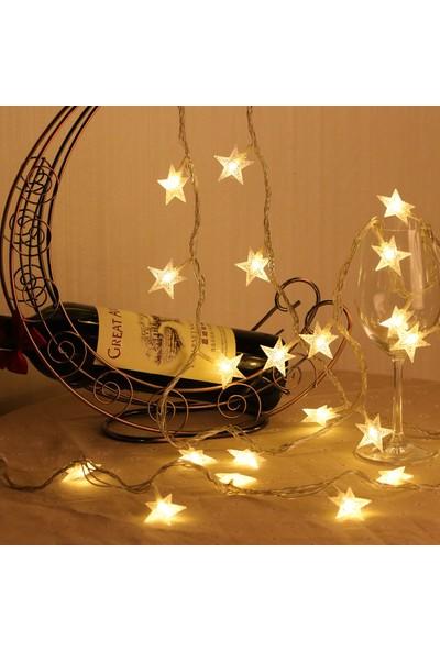 Repplam 5 Metre Yıldız LED Işık 50 Yıldızlı Fişli Dekoratif Yılbaşı Süs Ip LED Işık