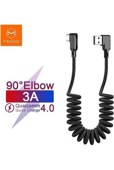 Mcdodo Mcdodo Lightning 90 Derece Spiral Ledli Örgü Kablo 1.8 mt Siyah