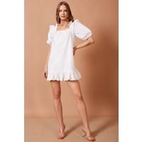 Never More Balon Kollu Fırfır Detaylı Beyaz Elbise