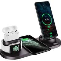 Daytona WRLSS Apple iWatch Airpods iPhone 11 11 Pro 12 12 Pro XS XR 8 Samsung Kablosuz Şarj Standı-Beyaz