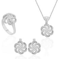 Armagano Gümüş Çiçek Desenli Kadın Set