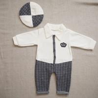 Minidoll 2 Parça Şapkalı Kadife Tulum Erkek Bebek
