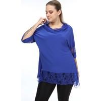Lilas Xxl Büyük Beden Saks Mavisi Renkli Degaje Yaka Likralı Bluz