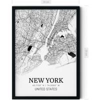 Teneffüs Design Modern New York Haritası Şehir Tablosu Siyah Beyaz Çerçeveli