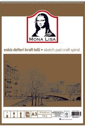 Mona Lisa Monalisa Eskiz Defteri Telli Kraft A3 120 gr 50 Yp MN01-3