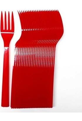 Roll-Up Kırmızı Plastik Çatal 25'li