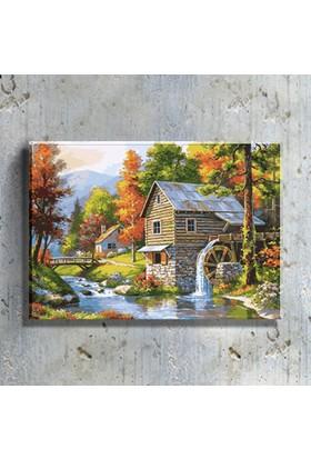Mağazacım Dağ Evi ve Su Değirmeni Manzarası Temalı Reprodüksiyon (35X50 Cm) Kanvas Tablo TBL1536