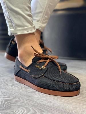 Knack Mevsimlik Keten Ayakkabı 008 Siyah (Taba Taban)