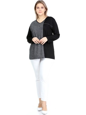 Lilas Xxl Büyük Beden Siyah Renkli Likralı Simli Uzun Kollu Bluz
