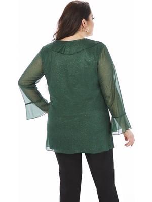Lilas Xxl Büyük Beden Yeşil Renkli Simli Fırfır Detaylı Likralı Tunik