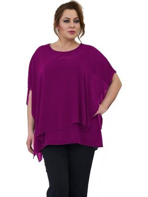 Lilas Xxl Büyük Beden Koyu Fuşya Renkli Salaş Şifon Bluz