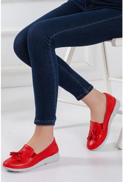 Zulu Kadın Günlük Ayakkabı Kırmızı Renkli