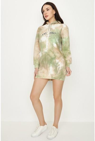 Select Kadın Renkli Kapüşonlu Sweat Elbise S053/0402/022 46 - Renkli