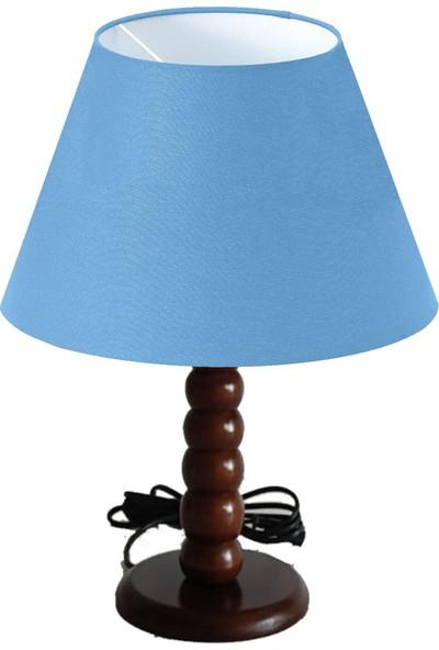 Lit Dizayn Abajur Masa Lambası Ahşap Gövde, Mavi Konik Başlık, Yüksek Kalite Dekoratif Tasarım