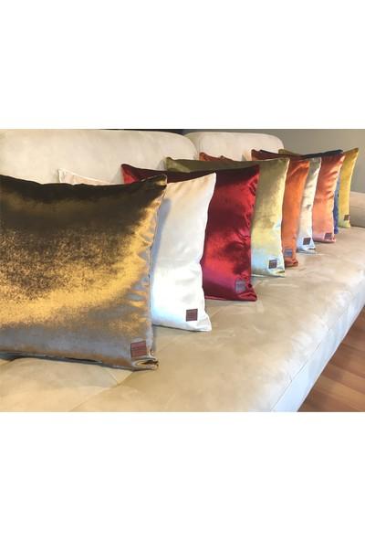 Arasta Design 2'li Kadife Bordo Kırmızı Düz Renk Dekoratif Kırlent Kılıfı, 43X43 cm