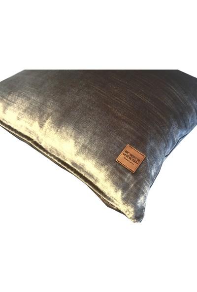 Arasta Design 2'li Kırlent Kılıfı Gümüş Platin Rengi, Düz Renk Kadife, 43X43 cm