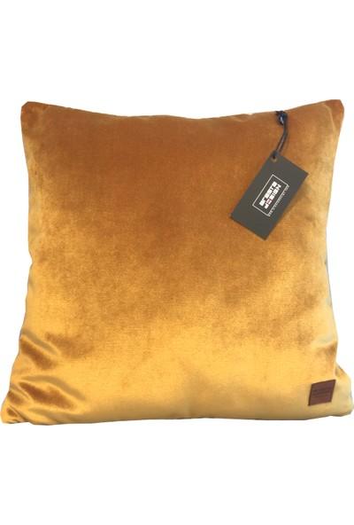 Arasta Design 2'li Kırlent Kılıfı Camel Sarı Düz Renk Kadife, 43X43 cm