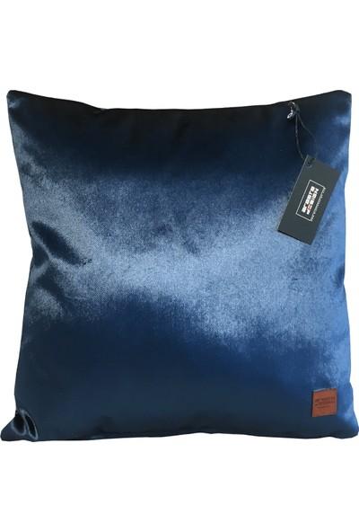 Arasta Design 2'li, Saks Mavisi Kadife Düz Renk Kırlent KILIFI,43X43 cm