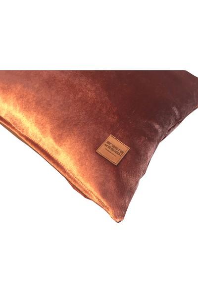 Arasta Design 2'li, Somon Rengi Kadife Düz Renk Kırlent KILIFI,43X43 cm