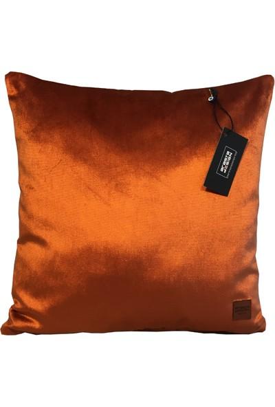 Arasta Design 2'li, Kiremit Rengi Kadife Düz Renk Kırlent KILIFI,43X43 cm